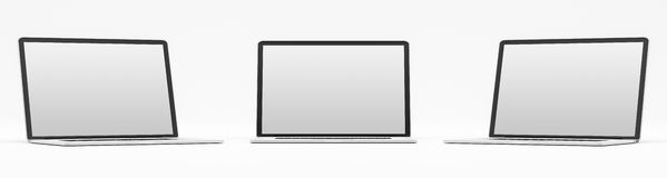 Triple modern digital silver and black laptop 3D rendering Royalty Free Stock Image