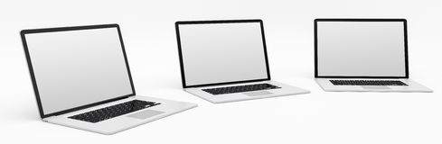 Triple modern digital silver and black laptop 3D rendering Royalty Free Stock Photography
