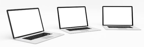 Triple modern digital silver and black laptop 3D rendering Stock Images