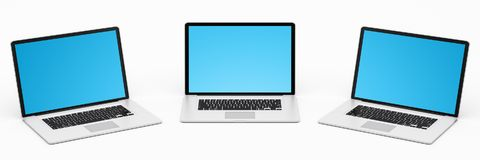 Triple modern digital silver and black laptop 3D rendering Royalty Free Stock Images