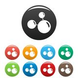 Triple molecule icons set color stock illustration