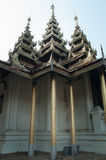 Triple pillars of Thai temple. Symmetrical triple pillars of Thai temple, Lampang district Royalty Free Stock Photo