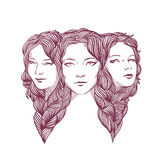 Triple portrait of beautiful young girls woven with long curly hair. Triptych. Triple portrait of young pretty girlfriends isolated on a white background Stock Images