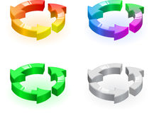 Triple round arrows set Royalty Free Stock Photography