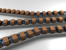 Triple row production line with boxes. Three dimensional model Stock Photography
