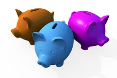 Triple Savings - Pigs. Banks Isolated on White. Triple Savings Theme. Three Ceramic 3D Rendered Pigs in Different Colors Royalty Free Stock Image