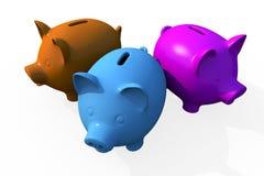 Triple Savings - Pigs Royalty Free Stock Image