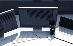Triple Screens Designer Desk Royalty Free Stock Photos