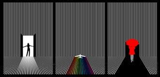 Triple set of vector line art stock illustration