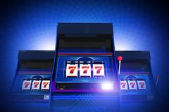 Triple Seven Casino Slots. Triple Seven Casino Slot Machines Lucky Game. Glowing Blue Background. 3D Rendered Illustration Concept Stock Image