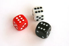 Triple six. Three dice all showing a six Stock Image