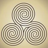 Triple spiral labyrinth symbol Stock Images