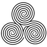 Triple spiral labyrinth symbol Stock Image