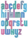 Triple stripe geometric font, retro style typeface made with str Stock Photography