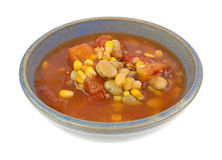 Triple Succotash In Bowl Side View Stock Photo