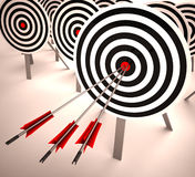 Triple Target Shows Accuracy, Aim And Skill. Triple Target Showing Accuracy, Aim And Skill Royalty Free Stock Photo