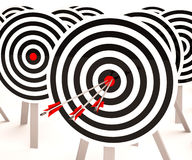 Triple Target Shows Winning Shot And Achievement Royalty Free Stock Photo