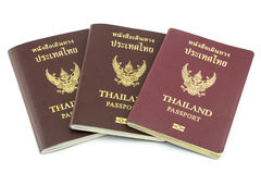 Triple Thailand passport  isolated on white Stock Image