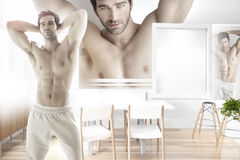 Triple threat. Conceptual fashion statement of a triple image centered around a very muscular sexy male model in bright modern interior Stock Images