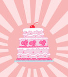 Triple tiered pink wedding cake Stock Photos