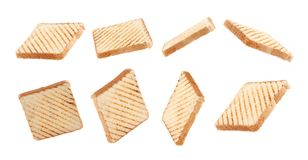 Free Triple Toast Bread Fly,float On White Background Royalty Free Stock Images - 162547469