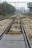 Railway. Triple tracks railway with electric lines Stock Images