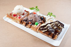Triple Waffle with Ice-Cream and Banana Stock Images