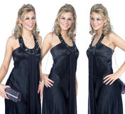 Triplet woman. In an evening dress Stock Photography