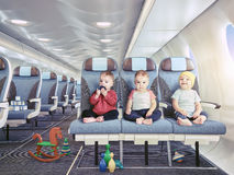 Triplets in the airplane stock image
