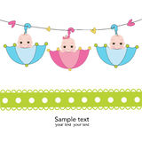 Triplets with umbrella baby shower card Royalty Free Stock Photos