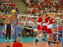 Triplex block volleyball .. Stock Image