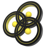 Triplex symbol. Abstract triplex symbol  (hires 3d image from yellow-black set Royalty Free Stock Photo