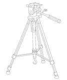 Tripod for camera and camcorder. Vector illustration of tripod for camera and camcorder isolated on a white background. Can be used for graphic design, textile Royalty Free Stock Photo