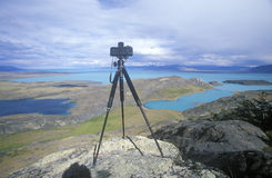 Tripod and camera on hill top near El Calafate, Patagonia, Argentina Royalty Free Stock Images
