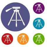 Tripod icons set. In flat circle reb, blue and green color for web Royalty Free Stock Photo