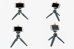 Tripod with iphone isolated. Stock Images