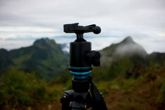 Tripod and landscape mountain view stock image
