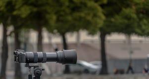 Tripod-monterad kamera för mm 35 med en stor lins av den långa brännvidden mot en avsiktligt suddig bakgrund royaltyfri foto