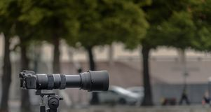 Tripod-mounted 35 mm camera with a large lens of long focal length against a deliberately blurred background. With green trees Royalty Free Stock Photo