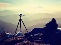 Tripod on peak ready for photography. Sharp autumn mountains Stock Images