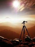 Tripod on peak ready for photography. Sharp autumn mountains Stock Photos