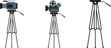 Tripod. Set of flat cameras and tripods royalty free illustration