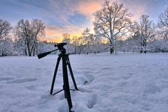 Tripod in the snow stock images
