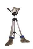 A tripod is in socks Royalty Free Stock Photography