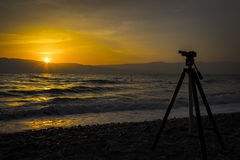 Tripod sunrise Royalty Free Stock Image