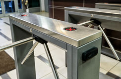 The tripod turnstile with electronic card reader Royalty Free Stock Images