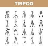 Tripod uppsättning för kameramanEquipment Vector Linear symboler vektor illustrationer