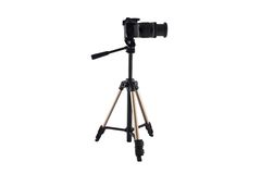 Tripod for video and photo shoot with a camera Stock Photos