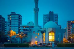 Tripoli, Lebanon. Night street with mosque in Tripoli, Lebanon stock photos