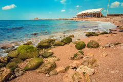 Tripoli, Lebanon. Scenic sea sand coast in Tripoli, Lebanon royalty free stock photos